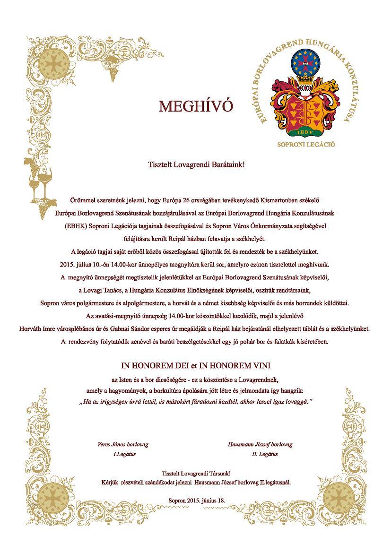 Meghívó Sopronba
