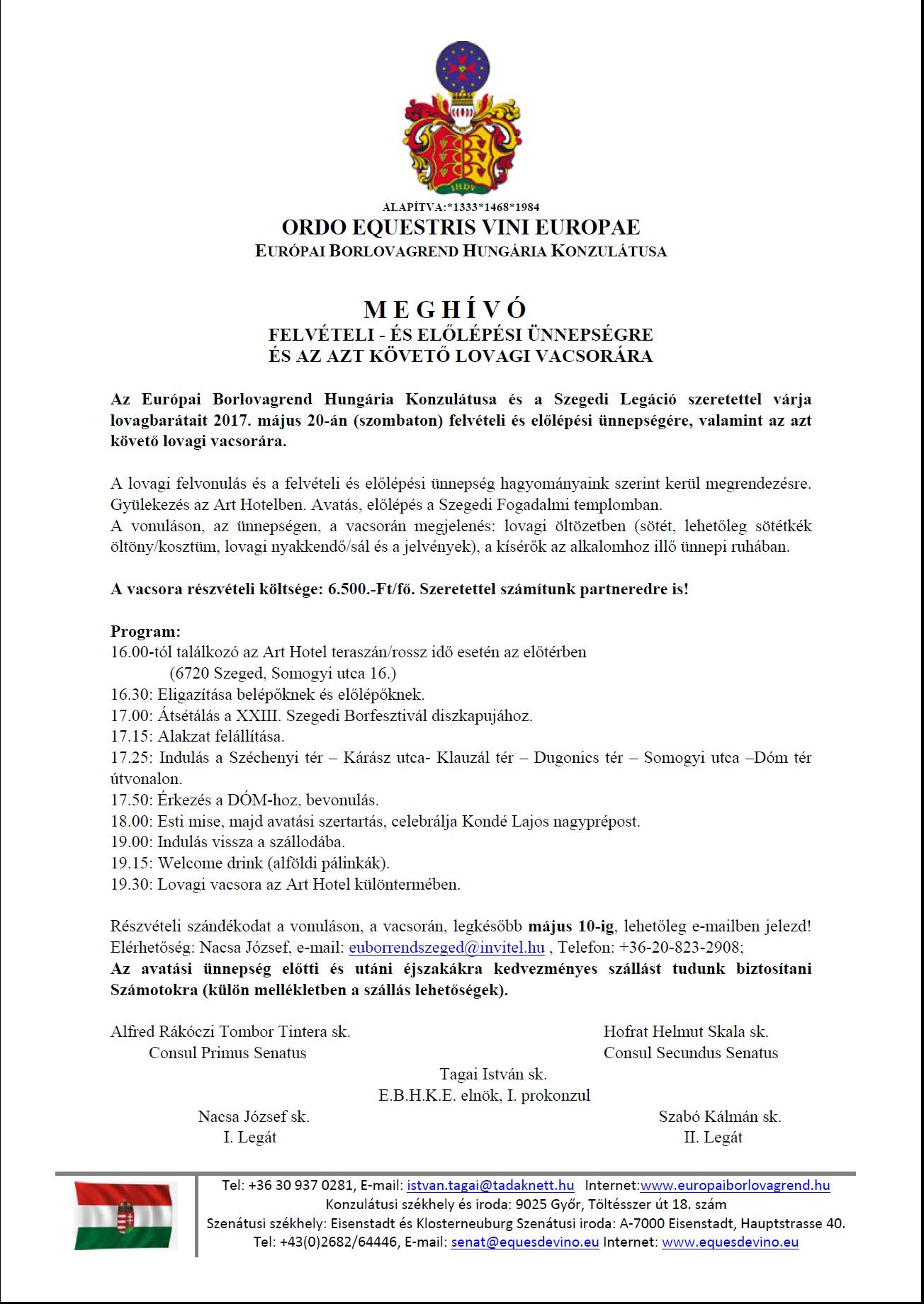 Szegedi Avatási és Előlépési ünnepség – Meghívó és program 2017. május