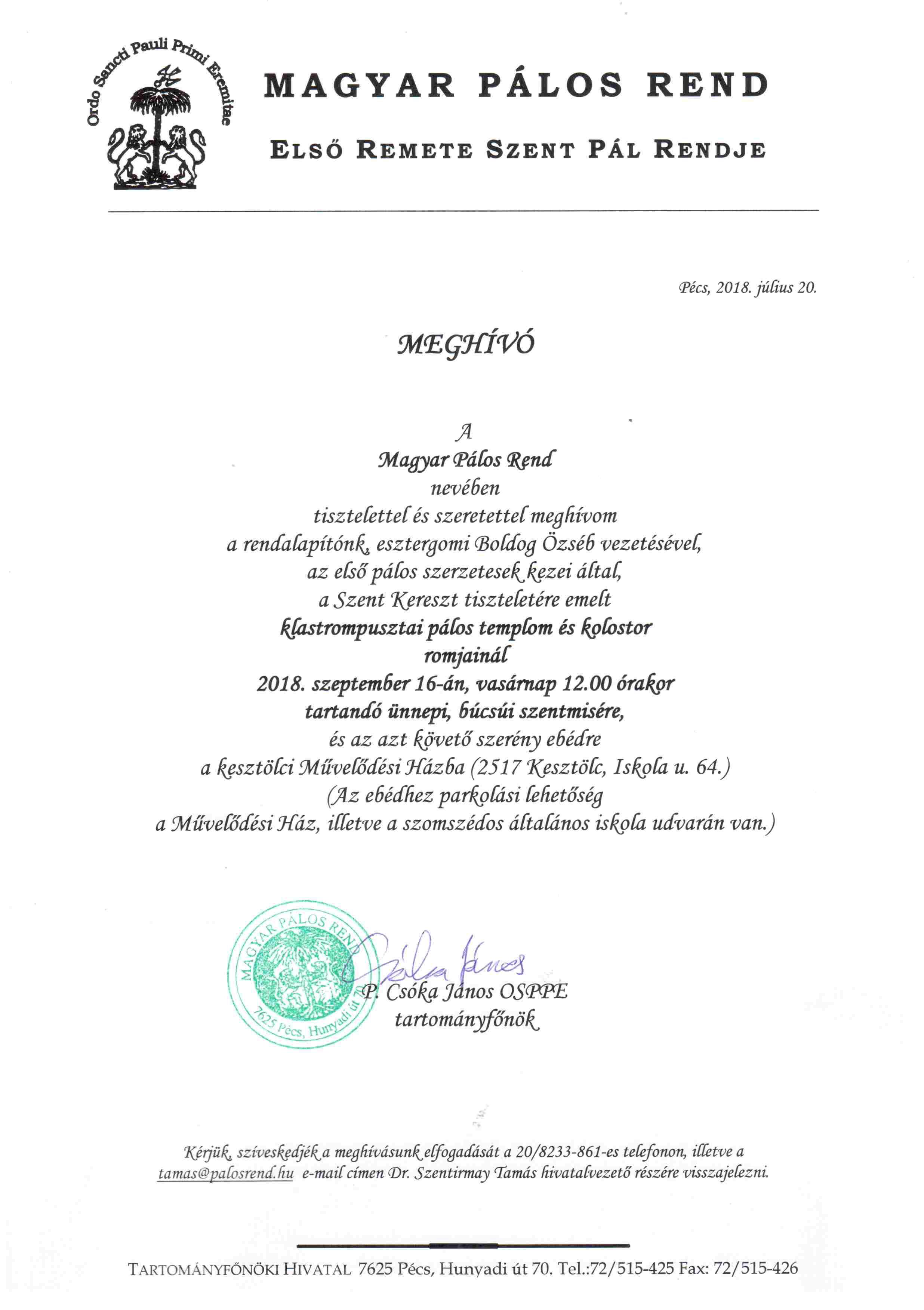 Meghívó 2018. szeptember 16-án Klastrompusztára