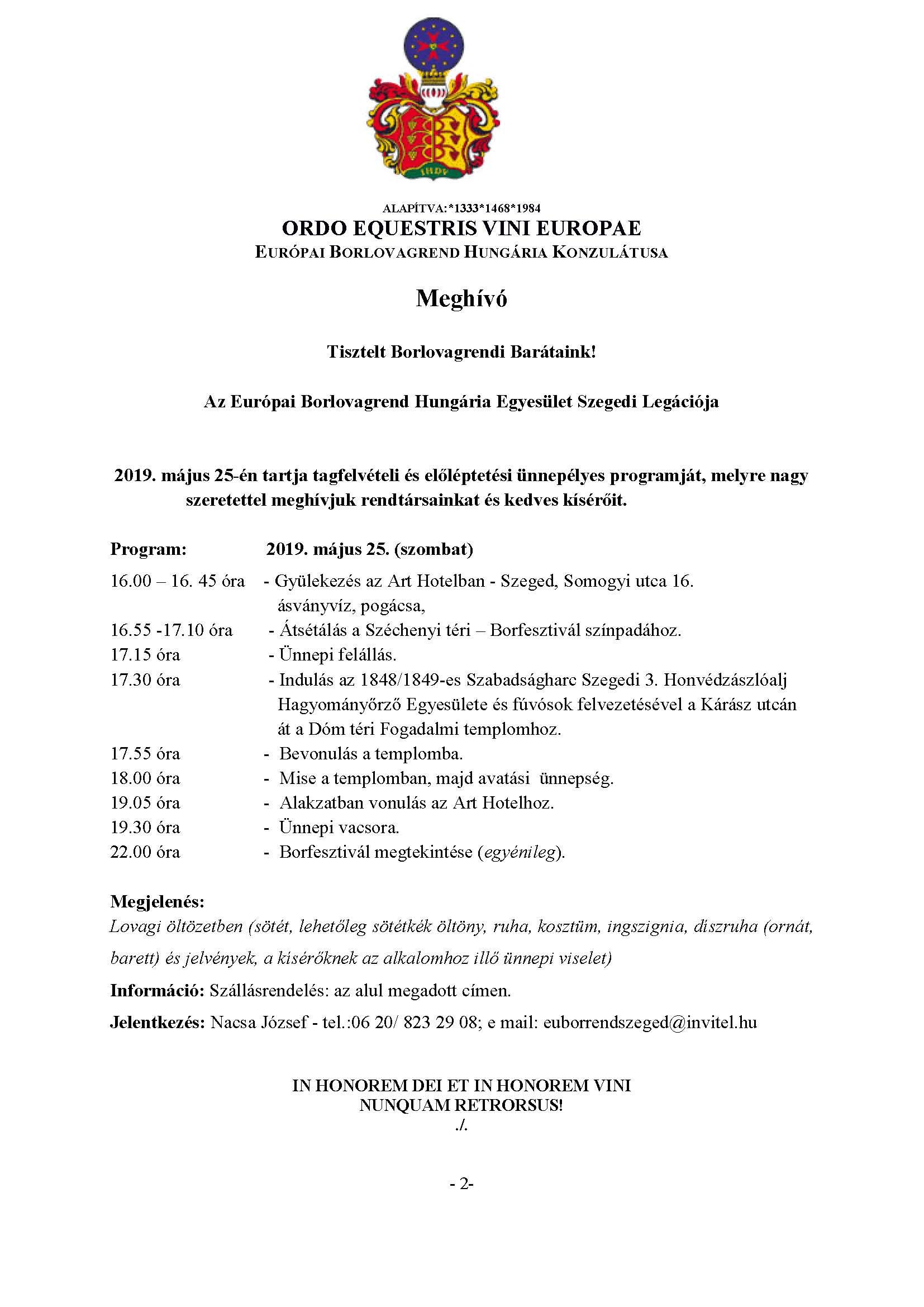 Meghívó Szegedre, 2019. május 25.