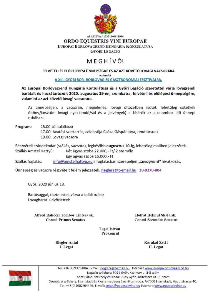 Meghívó Győrbe, 2020. augusztus 29.